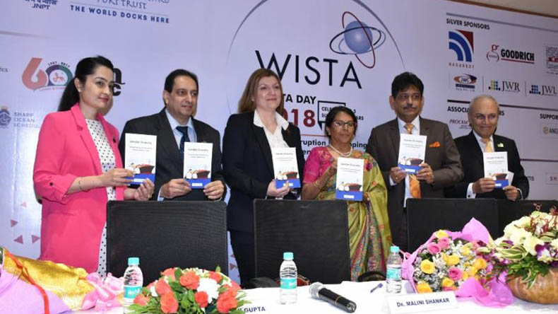 (from left to right) WISTA India President Ms.Sanjam Sahi Gupta; Director and Principal Anglo-Eastern Maritime Training Centre Capt.Deboo; WISTA International President Ms.Despina Panayiotou Theodosiou; Director General of Shipping in India Dr. Malini Shankar; Chairman Shipping Corporation of India Capt. Anoop Kumar Sharma; WISTA International Brand Ambassador Mr.Anil Singh