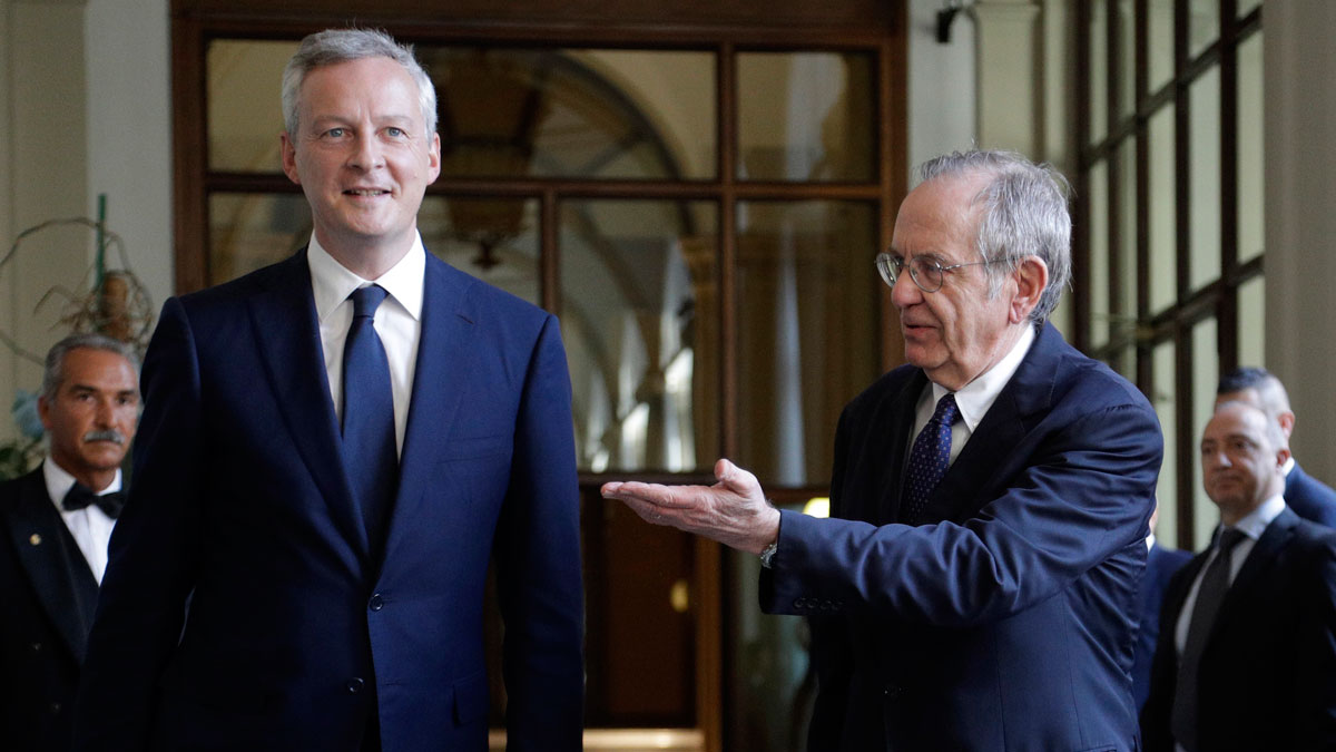 Bruno Le Maire and Pier Carlo Padoan in Rome August 1