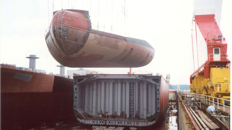 Bulk carrier under construction