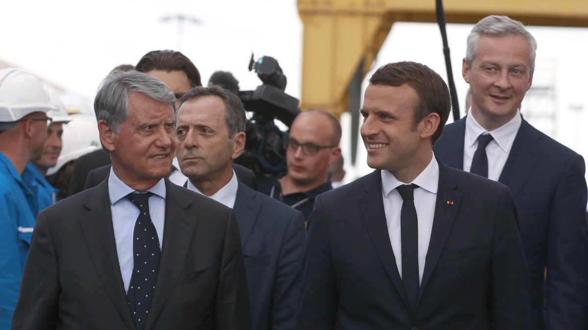 St Nazaire shipyard May 13 from left Gianluigi Aponte, President Macron, economy minister Le Maire