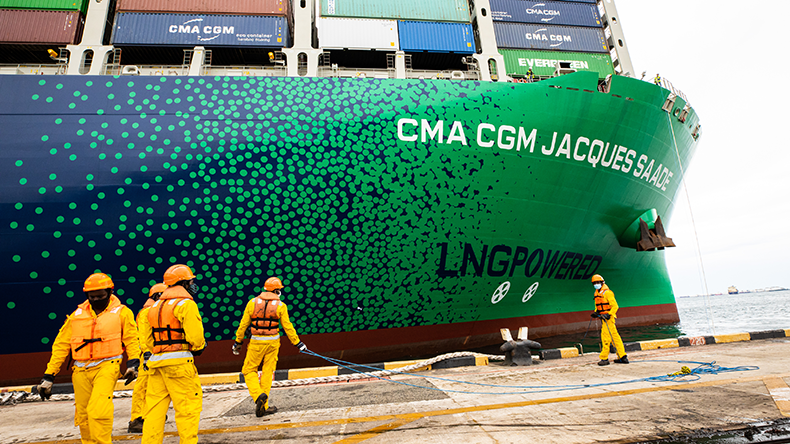 CMA CGM JACQUES SAADE, the world's largest containership powered by Liquefied Natural Gas (LNG)