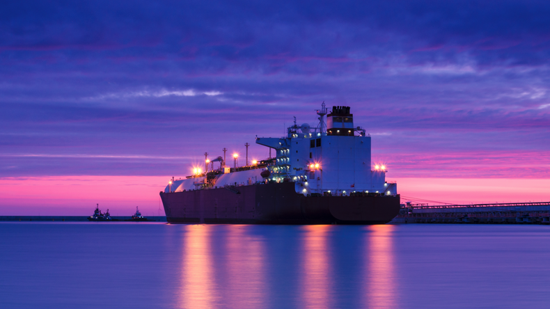 LNG carrier at dawn
