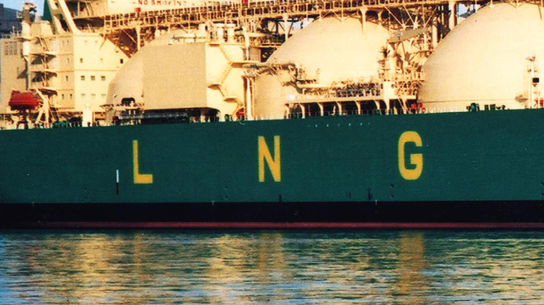 LNG painted on side of vessel