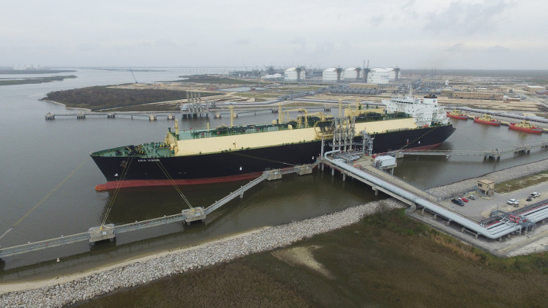 Loading cargo at US Sabine Pass facility