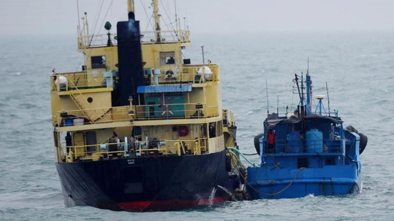 North Korea flagged tanker and a Chinese ship