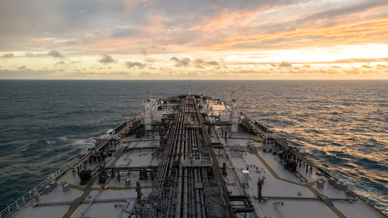 Oil tanker deck view