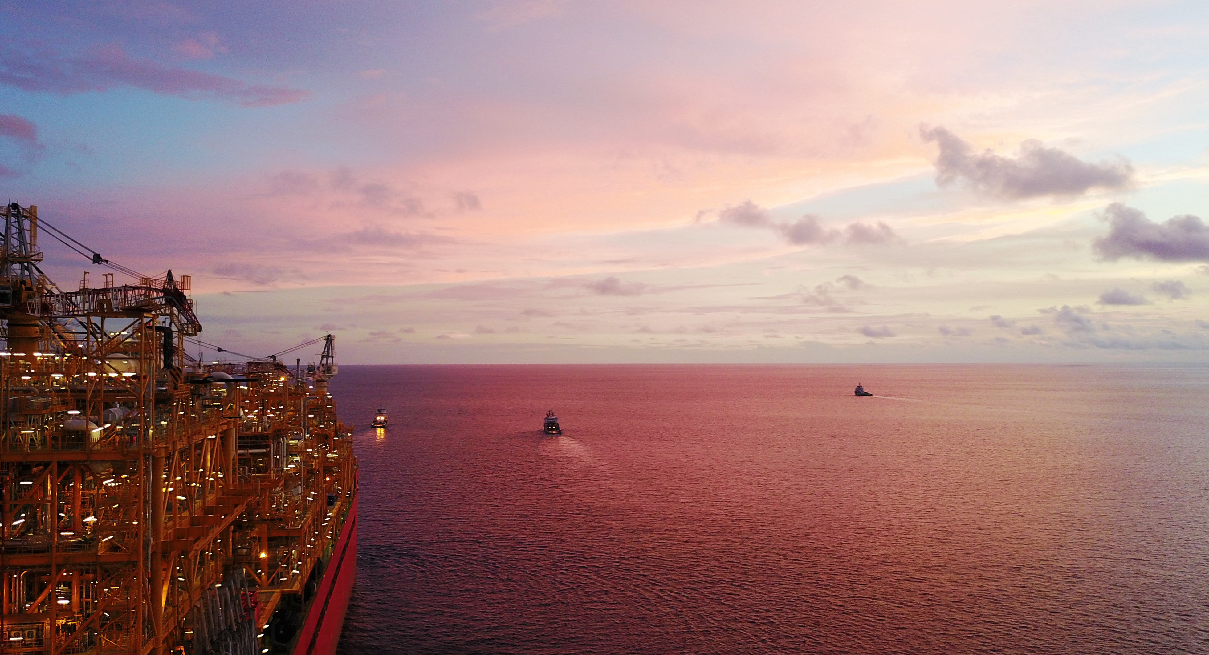 Sunset from Prelude FLNG facility