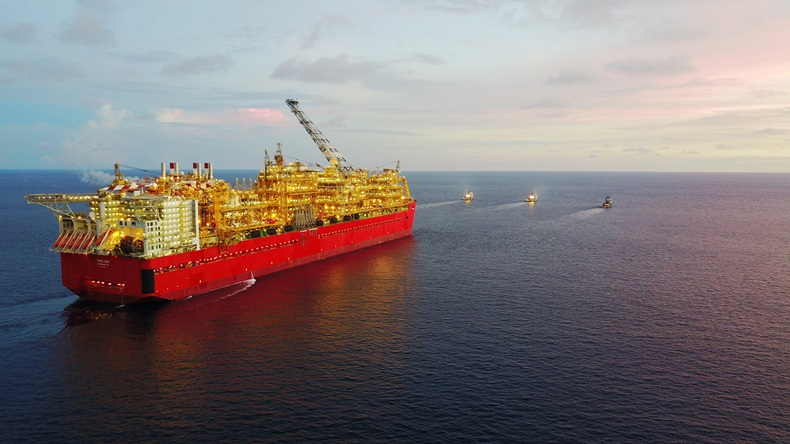 Wide shot of Prelude FLNG being towed to Australia