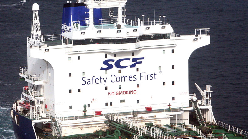 Sovcomflot logo on tanker