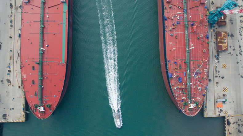 Two very large crude carriers alongside