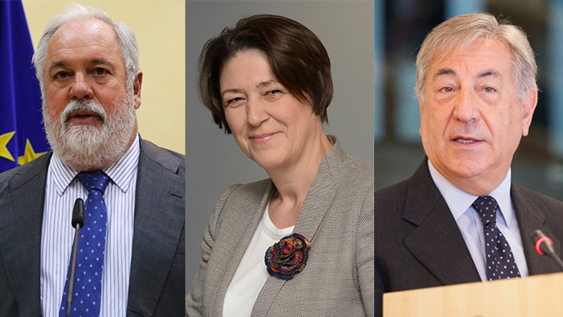 European Commissioners, from left: Miguel Arias Cañete, Commissioner for Energy and Climate Action; Violeta Bulc, Commissioner of Transport; Karmenu Vella, Commissioner for Environment, Maritime Affairs and Fisheries