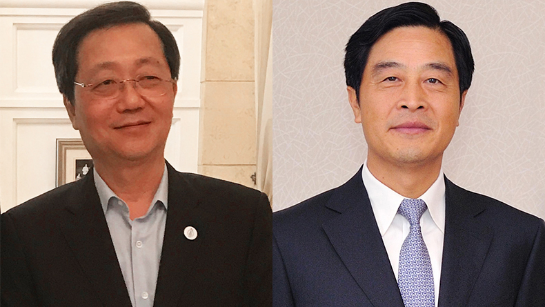 Xu Lirong, chairman, Cosco (left) and Li Jianhong, chairman, China Merchants Group