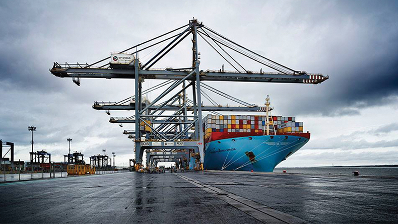 London Gateway, UK: the 18,270 teu Maersk Mc-Kinney Moller made the first call at the terminal on the 2M alliance's AE7/Condor service in November 2018.
