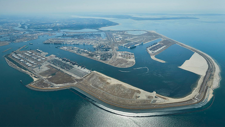 Rotterdam, The Netherlands: aerial view of Maasvlakte