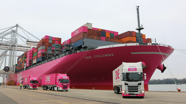 ONE ship with container lorries